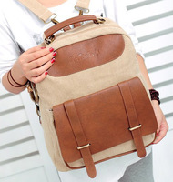 2014 New Arrival Fashion Women Luxury Khaki Colors Canvas Patchwork PU Leather Messenger Body Bag Vintage Backpacks Bag