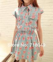 2014 New Fashion Summer Fashion Rock Tongue Print Turn-Down Collar Elastic Waist Blue Denim Dress For Women 2Colors FreeShipping