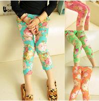4 color Kids leggings summer new 2014 Girl legging Floral Skinny Pencil Pants for girls children pants retail&wholesale