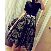 2014 new women Circleof spring noble ladies print organza bust skirt big skirt a-line elegant long skirt