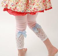 retail&wholesale 100% cotton+lace girl's 2014 new spring Autumn Kids flower lace Leggings Kids/child pants Cheap