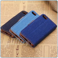 Denim jean Wallet Leather Credit Card Stand with Soft tpu Case cover for Apple iphone 4 4g 4gs