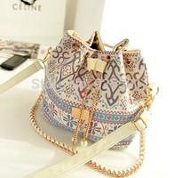 New 2014 Hot sales fashion printing women handbag Pearl metal chain shoulder bag Messenger bag Wholesale free shipping B173