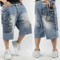 Hot Jeans Denim Mens Under kness length Capris shorts trousers Blue Summer water wash embroidery hiphop hip-hop hip hop casual