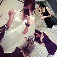 2014 free shipping 173 b50a 2014 summer women's vest irregular vest medium-long basic shirt