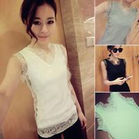 2014 free shipping 173 v41 spring and summer fashion all-match V-neck lace decoration slim basic vest female