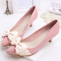Free shipping 2013 shallow mouth bow ribbon princess single shoes casual shoes female women's pointed toe high-heeled shoes
