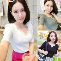 2014 free shipping 173 e44 summer thread 100% cotton V-neck petals collar slim half sleeve female t-shirt