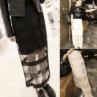 2014 free shipping 173 j46 summer solid color high waist gauze bust skirt long skirt chiffon women's
