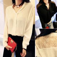 2014 free shipping 173 d5 m 2014 summer women's lace patchwork batwing sleeve loose chiffon shirt