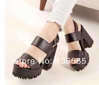 Free shipping 2014 Women's Peep Toe Cuban Platform Chunky Thick Sole High Heel Shoe Sandals Boots Eur35 Eur36 Eur37 Eur38 Eur39