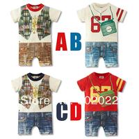 Free Shipping Children Wear infant Kids Boy's fake vest full mix xolor printing short sleeve Baby Romper