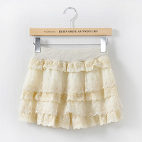 Vivi elastic waist cutout crochet lace decoration basic shorts layered dress