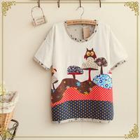 Retail 2014 New Mori Girl Spring Summer Women's Owl Cotton Batwing sleeve Short-sleeve T-shirt,Female Cute Tops,Free Shipping