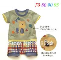 Free Shipping Children Wear infant Kids Boy's bear checked bottom short sleeve Baby Romper