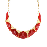 Punk Style Colorful Simulated Gemstone Geometric Triangle Statement Choker Necklace for Women