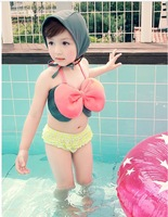 hot!  Fashion girl Kids pink two piece swimsuits for baby Girls with cap  2014 cute tankini bathing suits Drop shipping
