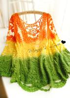 Fairy gradient disk flowers irregular lace crochet top shirt