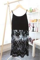 Spaghetti strap one-piece dress 2014 lace one-piece dress sleeve length skirt basic shirt basic skirt female