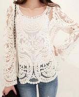Oversized scalloped basic shirt loose crochet cutout long-sleeve pullover shirt lace shirt top