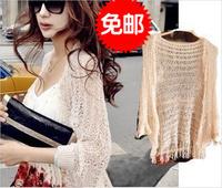 Cardigan cutout shirt female sweater plus size autumn cape thin air conditioner shirt medium-long
