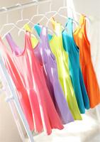 2014 spring candy color slim basic skirt tank sleeveless dress spaghetti strap one-piece dress female