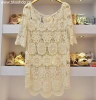 Crotch cutout lace midguts lace one-piece dress hook cutout flower lace loose sweater shirt