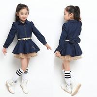 2014 spring new children's clothing girls long-sleeved dress big virgin princess dress children denim dress behalf