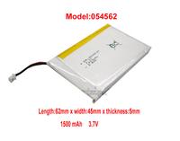Lithium Li-polymer rechargeable Battery Li-Po 3.7V 1500mAh for bluetooth mp3 mp4 gps psp 054562 free shipping