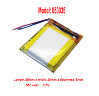 Lithium Li-polymer rechargeable Battery  Li-Po 3.7V 550 mAh for bluetooth mp3 mp4 gps psp 053035 free shipping