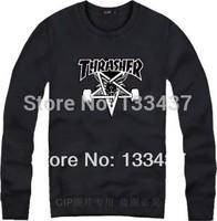2014 New Tide Brand Hip Hop Thrasher pentagram Men Women Loose Long Sleeve Hoody And Sweatshirt Cotton Skateboard Pullover Coat