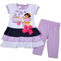 New arrival! Free shipping 2~5T summer girl clothing set the explorer dora patchwork three layers cake dress & purple legging