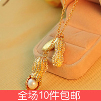 Free shipping 1362 accessories beautiful pair of peanut necklace accessories pearl pea pod necklace long necklace design female