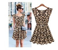 New 2014 M L XL Sexy One Piece Silk Ruffles Sleeve Leopard Print Casual Women Clothing Summer Dress