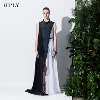 Hply 2014 spring o-neck sleeveless cross black and white cascading formal dress full dress one-piece dress