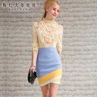 Bust skirt short skirt 2014 blue white three-color juxtaposition slim hip skirt