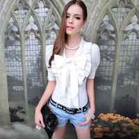 Shirt female summer female bow ruffle slim bubble short-sleeve shirt