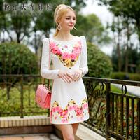 One-piece dress female 2014 spring women's white basic long-sleeve dress slim