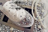 Crystal shoes platform shoes platform shoes rhinestone pearl flat elastic canvas sneaker shoes sandals