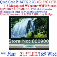 "High quality all in one desktop PC LED 21.5"" intel i5 quad core 3470s 2.9Ghz Ivy Bridge CPU 16:9 1080P 4G RAM 32G SSD 1TB HDD"
