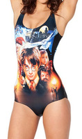 BK-023 New 2014 Fashion Women's Harry Potter Bathing Suit Digital Print One Pieces Swimsuit For Summer Swimwear