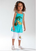 high quality 100% cotton 2014 summer girls clothing sets new arrived casual sport children baby clothes suit