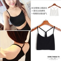 Wholesale Cotton Slim Sexy Y Style Spaghetti Strap Basice Shirt 2 Color for Choose Women's Vest /Cotton Top Tank Free Shipping