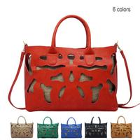 6 Colors Big Capacity Hollow Out Shoulder Messenger Bag Vintage Faux Leather Women Cross Body Bag Tote Handbag Black Blue
