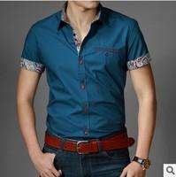 New spring 2014 summer men casual shirt short-sleeved men's shirts half sleeve Career Office Business cotton shirt men clothing
