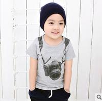Free Shipping 1PC/Lot 2014 Children Child Baby Boy&Girl Cute Camera Short  Sleeve T-Shirts 100% Cotton kids Baby Summer Cloth