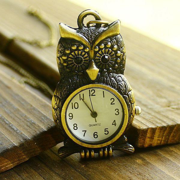 Free shipping wholesale dropship hot sale vintage bronze unique owl necklace pocket watch cartoon(China (Mainland))