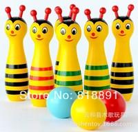 Wooden Children Intellectual Baby Sports Toys Bowling WD07  6PCS+3 Balls Per Set