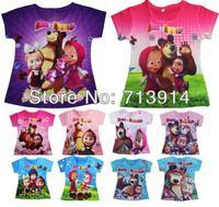 Retail Masha and bear 3d children girls wear tops summer clothes t shirts,childrens masha bear short shirt girl clothes in stock