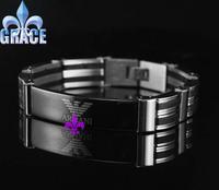 New fashion bracelet 316L stainless steel titanium men bracelets & bangles jewelry 21cm long ,1.3cm wide wholesale